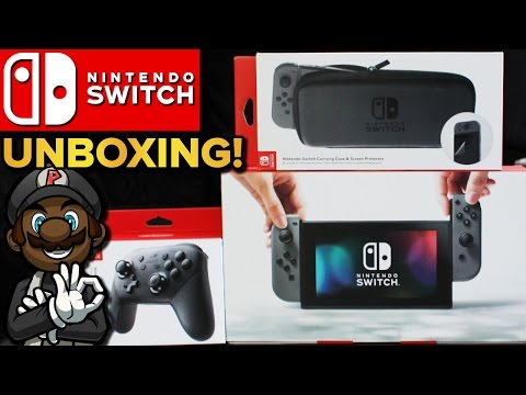 Nintendo Switch Unboxing! Pro Controller, Carrying Case & Breath of the Wild Guide