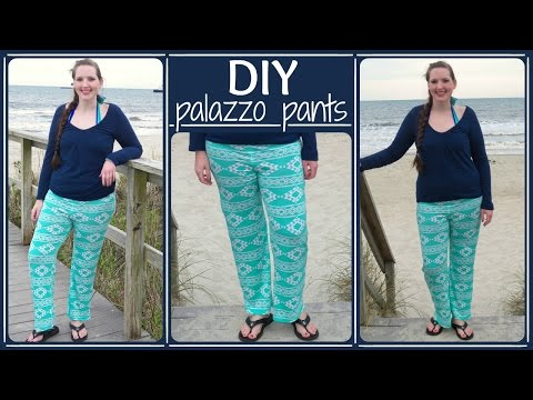 How to Sew Palazzo Pants - Yoga Style Waist + Stretch Fabric DIY