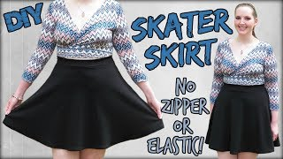 How to Make a Skater Skirt EASY! | No Zipper or Elastic | Sewing Projects for Beginners
