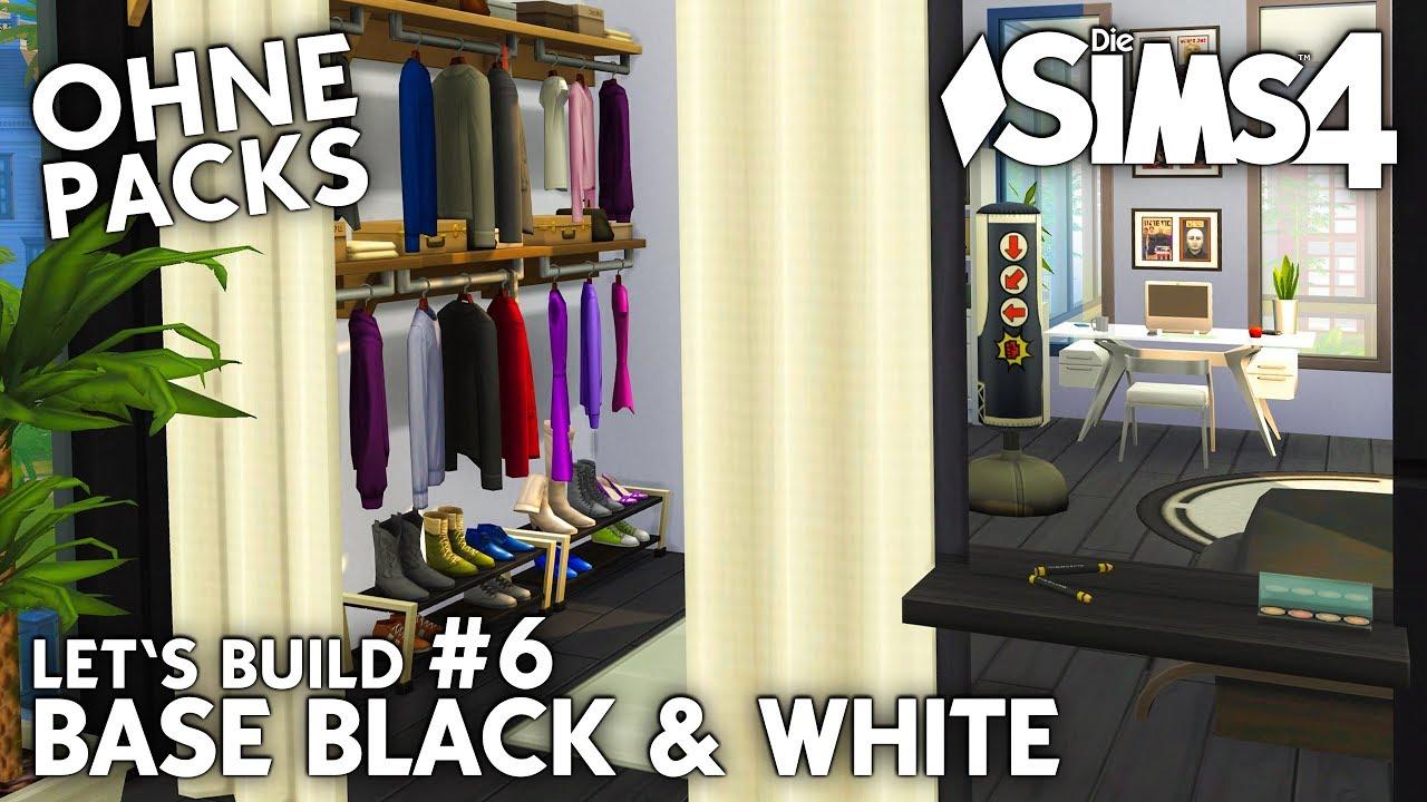 Die Sims 4 Haus bauen ohne Packs | Base Black & White #6: Schlafzimmer &  begehbarer Kleiderschrank
