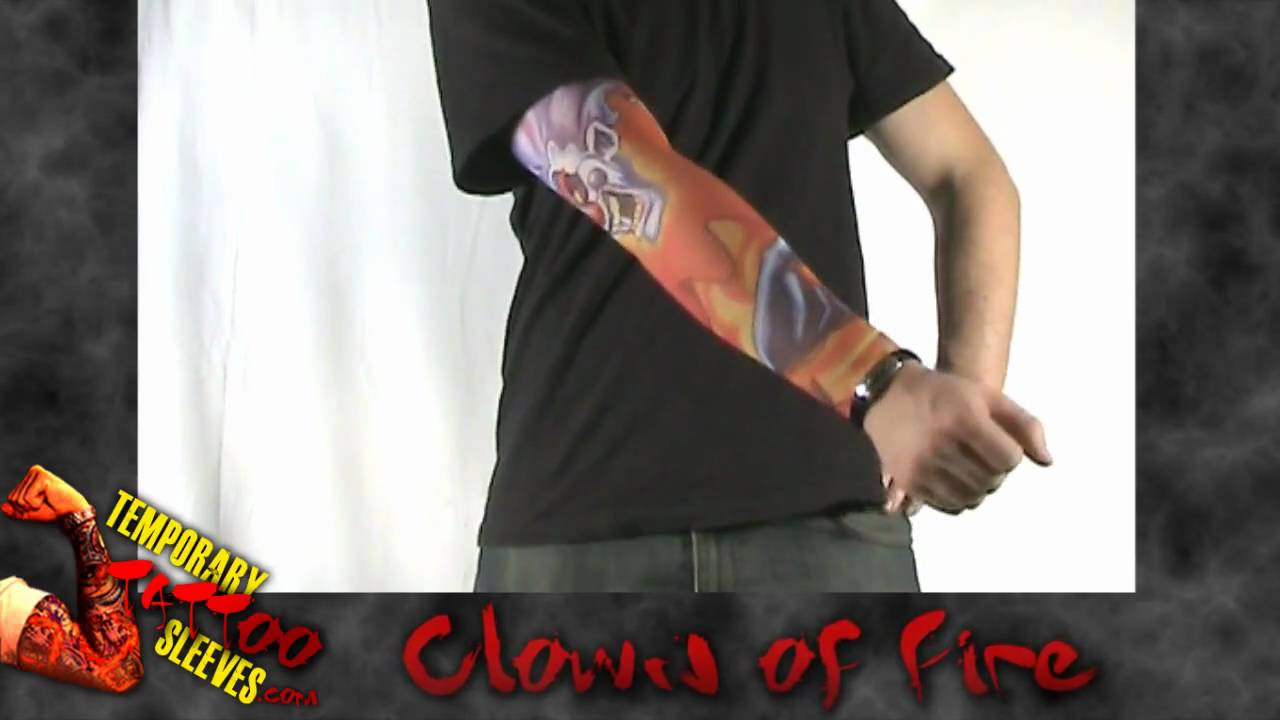 Clown Of Fire Temporary Tattoo Sleeve