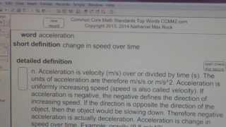 acceleration Common Core Math Standards Top Words CCM42.com