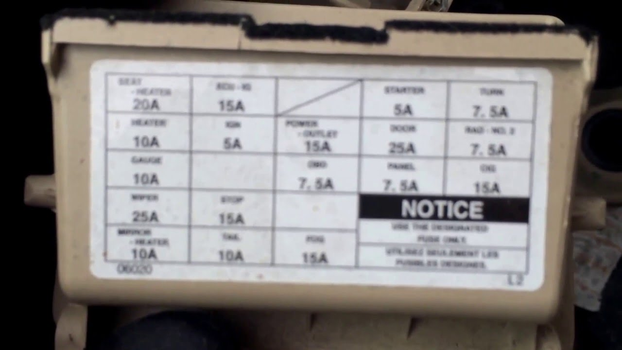 2000 toyota solaria fuse box location