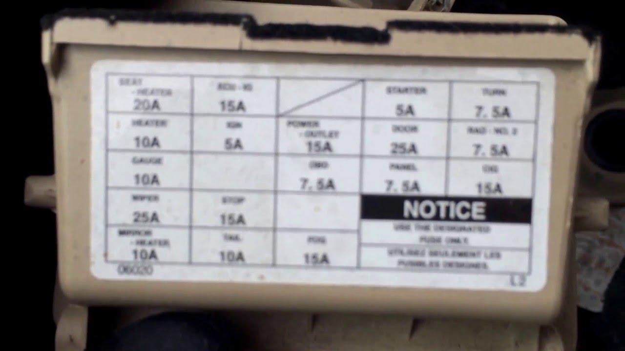 2000 Toyota Solaria Fuse Box Location  YouTube