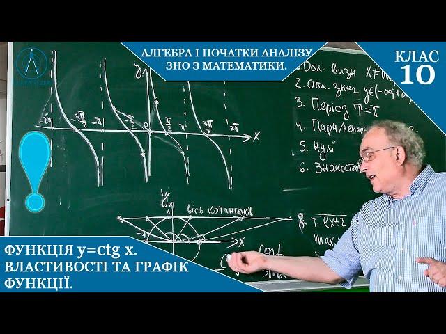 10 клас. Алгебра. Функція y=ctgx. Властивості та графік функції.
