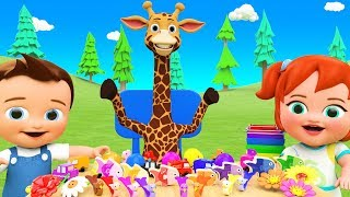 Giraffe Cartoon Selling Color Toys to Little Baby Boy Girl Learn Colors for Children Kids Education