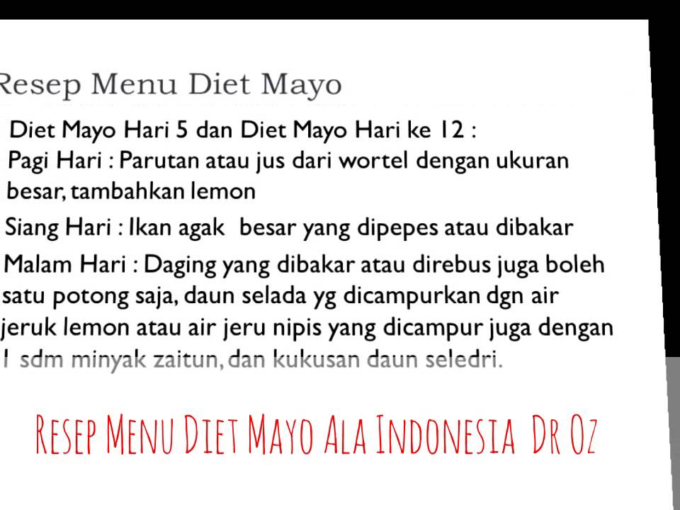 Resep Menu Sehat Diet Mayo Ala Indonesia Dr Oz - YouTube