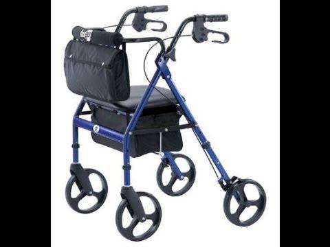 Mobility Aid Hugo Elite Rollator Walker with Seat, Backrest and Saddle Bag