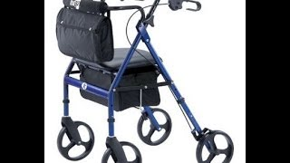 Mobility Aid Hugo Elite Rollator Walker With Seat, Backrest And Saddle Bag