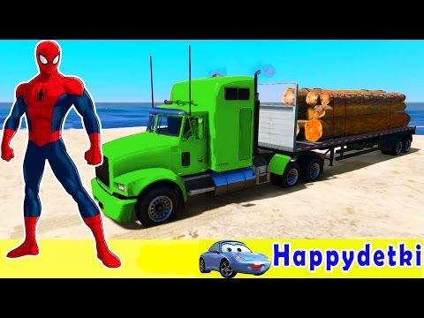 Большие цветные грузовики, человек паук  Мультики для детей, машинки, песенки