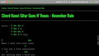 Chord Guns N' Roses ~ november rain ( kunci gitar & lirik)