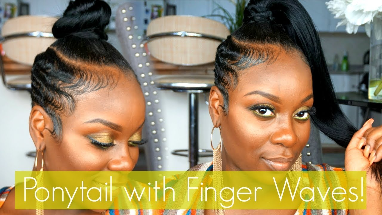 tutorial hair styles easy ponytail with finger waved sides hair tutorial 4588