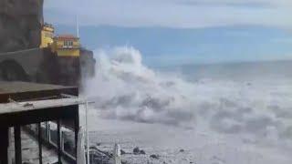 Waves crash into Madeira Island as Storm Leslie heads toward Portugal, Spain