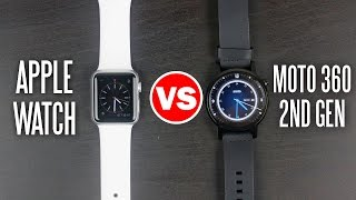 Moto 360 2nd Gen vs Apple Watch - Smart Watch Comparison(Here is our Smartwatch Comparison between the Moto 360 2nd Gen vs the Apple Watch. More info on the Apple Watch: http://amzn.to/1EI6cBU More info on the ..., 2015-10-11T17:00:00.000Z)