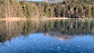 北海道名物アイスバブルを全面結氷したオンネトーで撮影会