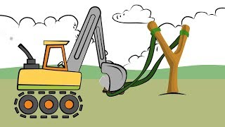 Learn Colors Excavator Drawing - Slingshot and shield   Colors for Children and babies   Koparka
