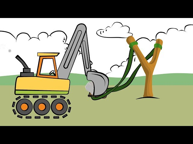 Learn Colors Excavator Drawing - Slingshot and shield | Colors for Children and babies | Koparka