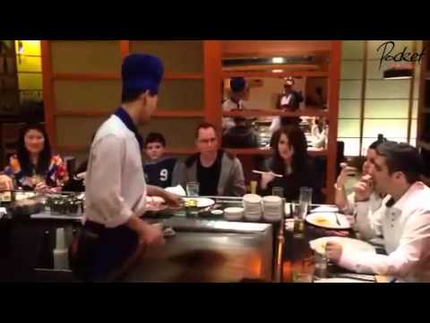 Chef shows off his skills @ Sapporo Teppanyaki