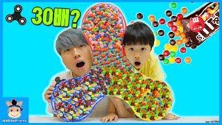 30배 초대형 피젯스피너 만들기! 근데 먹을 수 있다? (꿀잼ㅋ)♡ M&M 초콜릿 피젯 스피너 놀이 Fidget Spinner Toys | 말이야와친구들 MariAndFriends