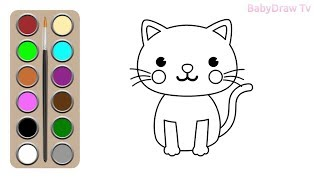 Cute cat drawing for kids | Cat drawing easy step by step