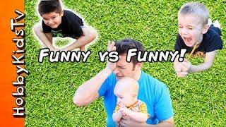 Funny Vs Funny CHALLENGE! Baby Farts + Silly Jokes, Funny Faces HobbyKidsTV