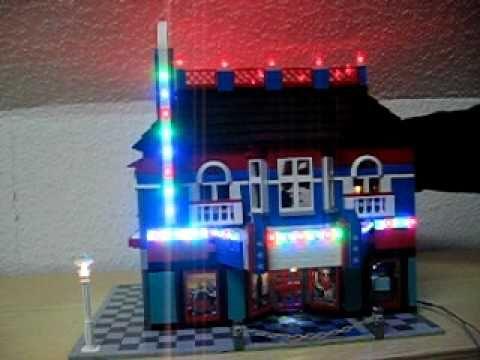 kino cinema lego mit led beleuchtung lauflicht youtube. Black Bedroom Furniture Sets. Home Design Ideas