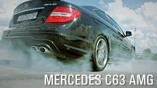 Mercedes C63AMG (burnout, exhaust sound)