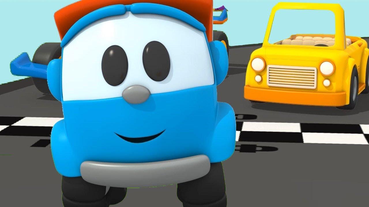 Leo costruisce una macchina cabriolet cartoni animati per