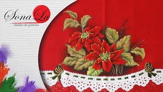 Flores de Natal em Tecido (Natal 2) Sonalupinturas