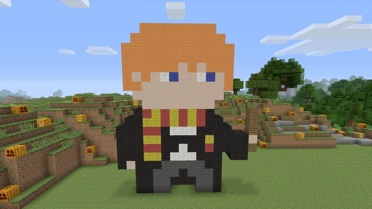 Beautiful Minecraft Pixel Art   Ron Weasley From Harry Potter   YouTube