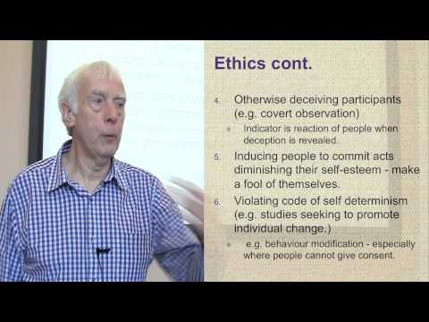 The Ethics of Social Research. Part 3 of 3 on Practical Issues and Ethics