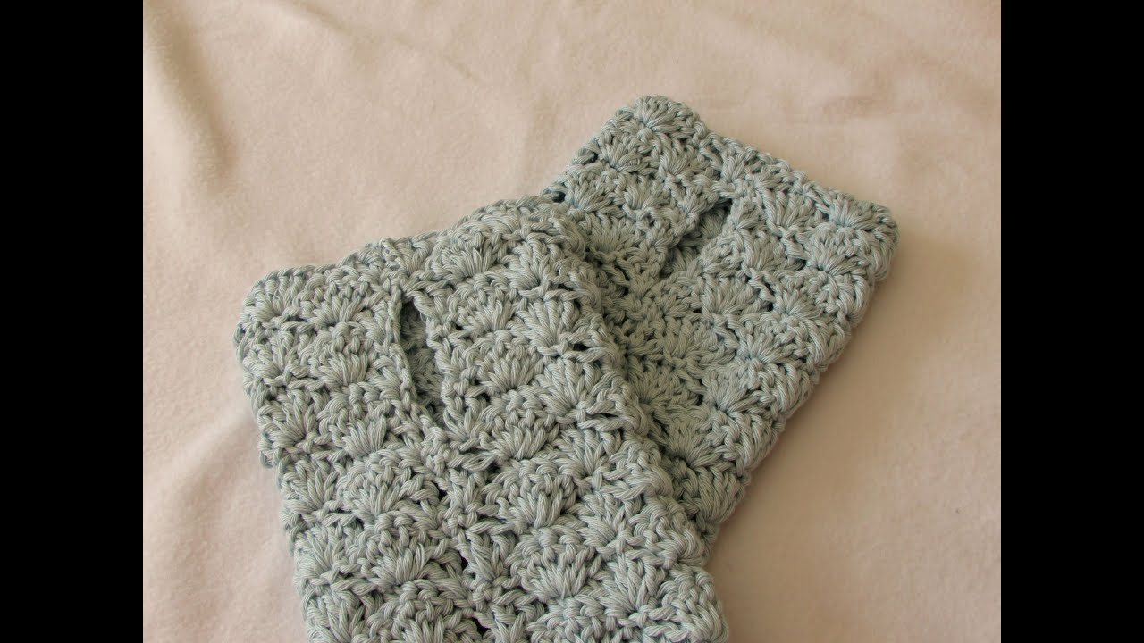 Crochet Fingerless Gloves Tutorials : VERY EASY crochet shell stitch wrist warmers / fingerless ...