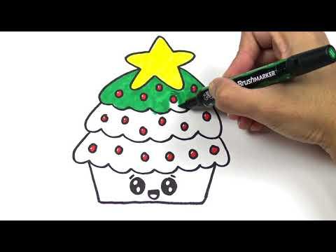 สอนวาดรูป ระบายสี คัพเค้ก คริสต์มาส น่ารัก อย่างง่ายๆ