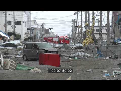 Japan Tsunami Aftermath Full Length Stock Footage  15th March 2011 Part 1