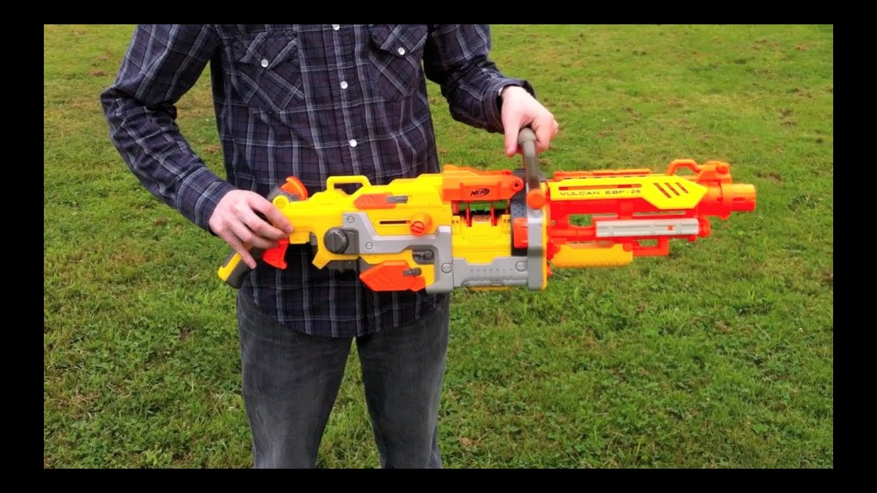 Nerf N-Strike Vulcan EBF-25 - Range Test (Stock) - YouTube