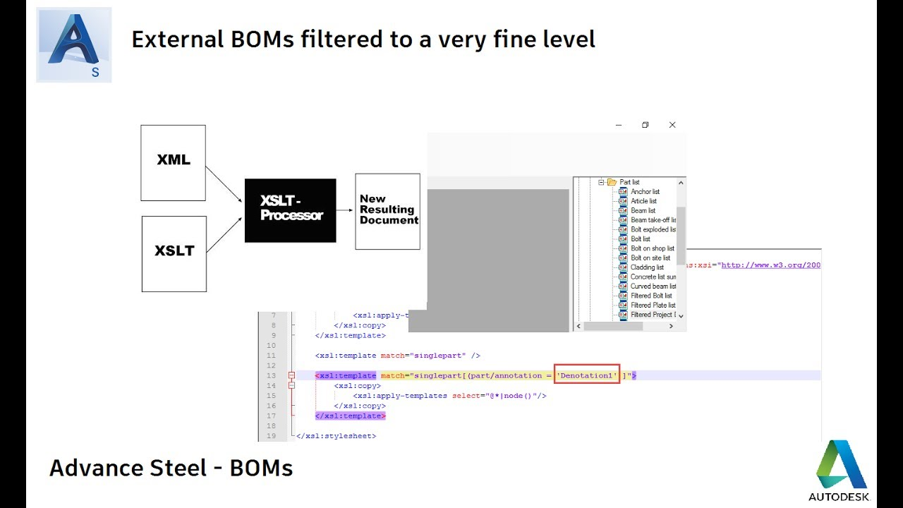 Advance Steel - Filtering BOM Data to a fine level using XSLT Files ...