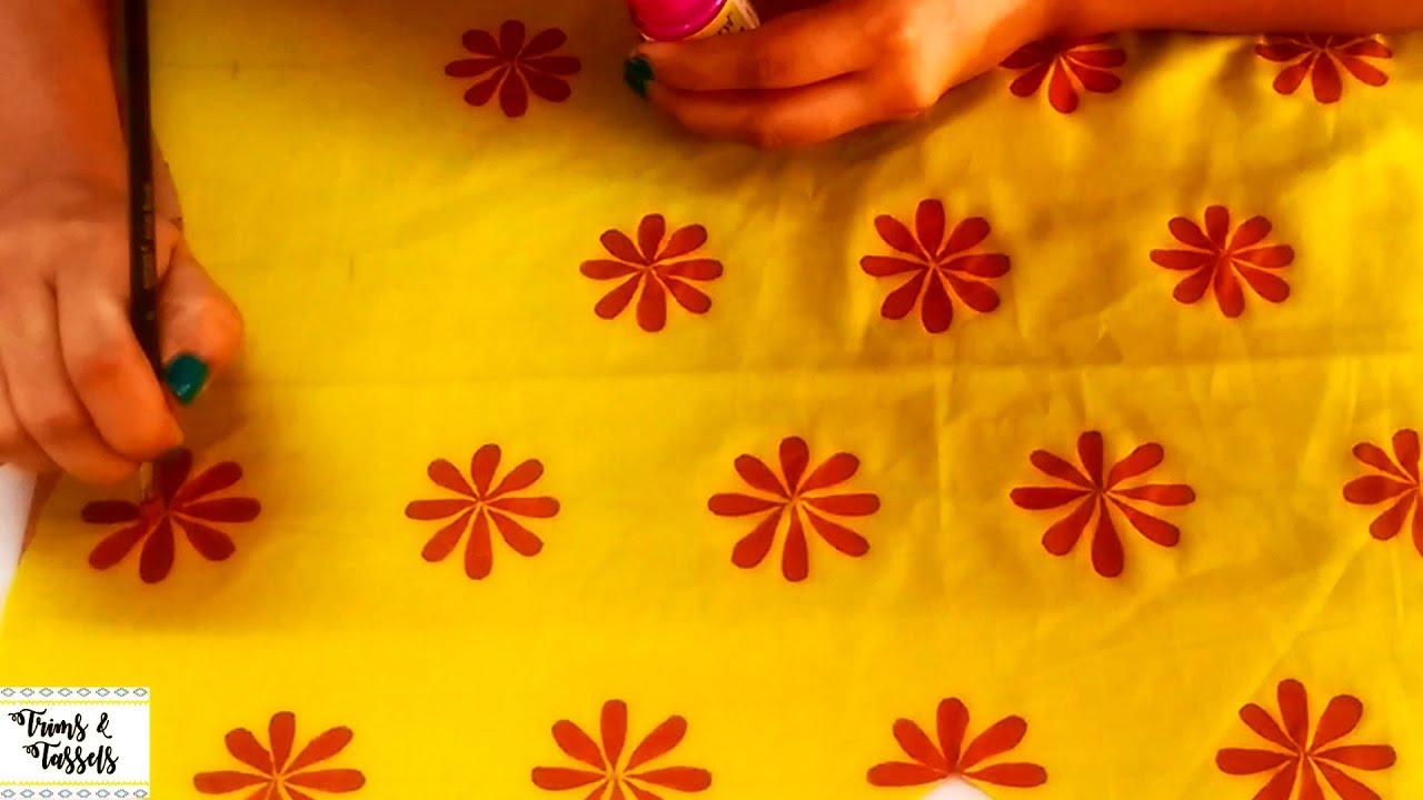 How To Fabric Painting Design On Cloth Using Fevicryl Colors Painting On Top Kurtis Sarees Youtube