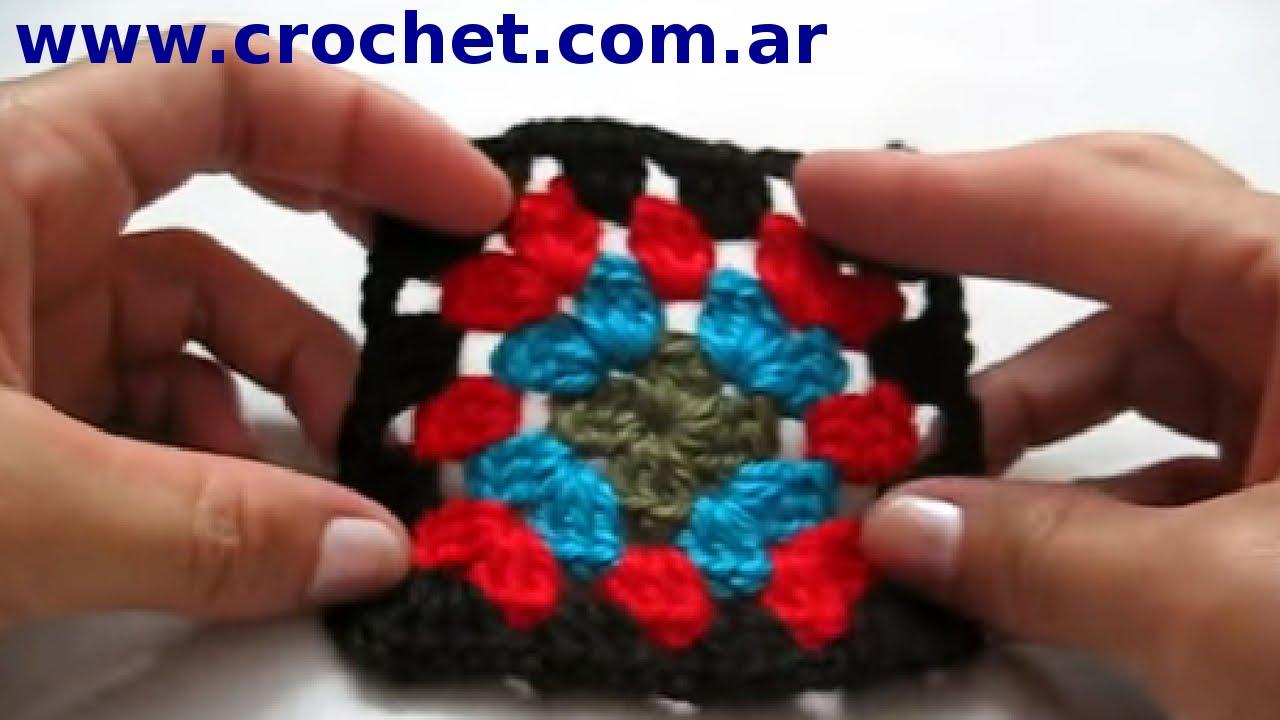 Motivo cuadrado Granny Square N° 7 en tejido #crochet o ganchillo ...