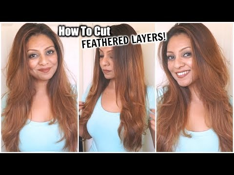How To Cut Your Hair At Home In Feathered Layers Diy Layers Haircut How To Short Layers In Long Hair Youtube