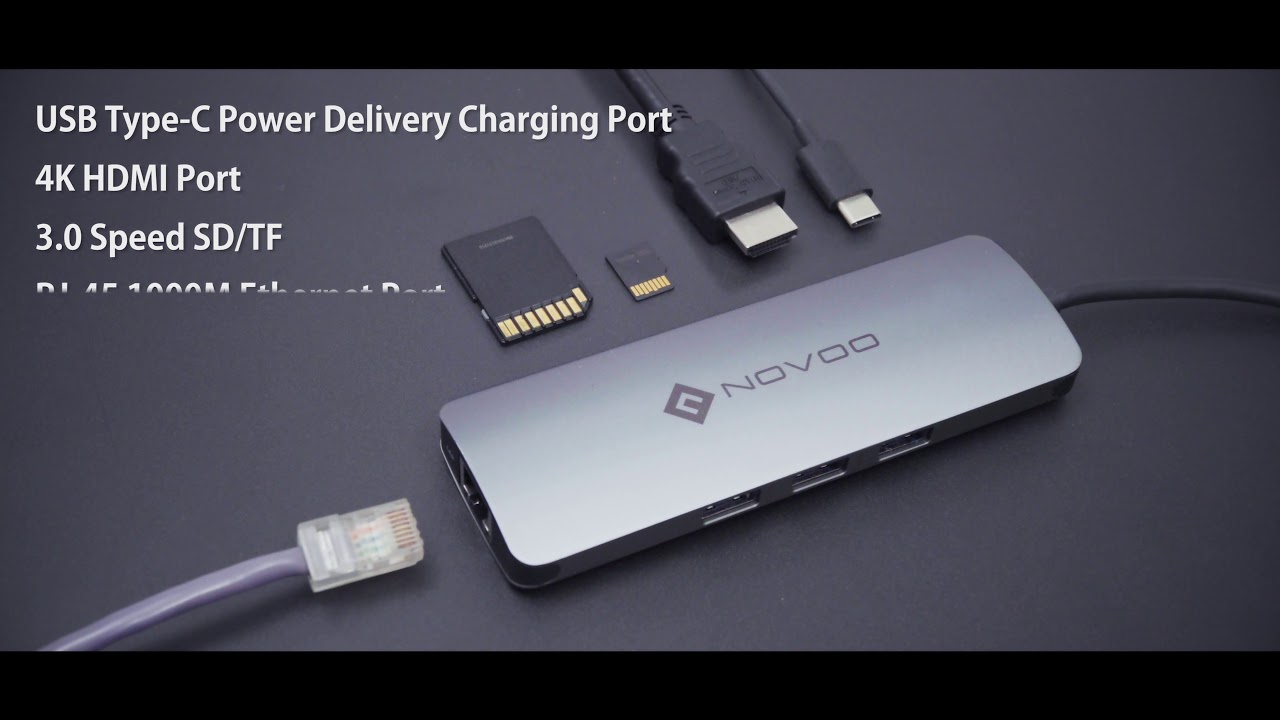 Best Work Assistant Novoo 8 In 1 Usb C Hub With Hdmi Type Power To Adapter Macbook Pro 30 Sdtf Card Delivery Port 3 Sd Tf