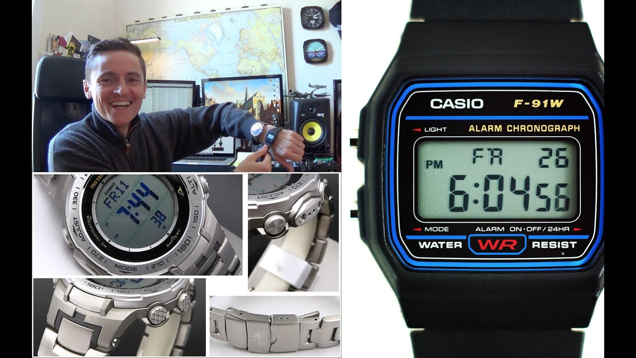 casio evolution the 90s iconic f 91w meets it 39 s 2015 descendent pro trek abc watch prw 3100t