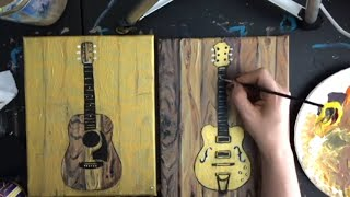 STEP by STEP Acrylic, Gold Leaf Painting - Accoustic & Electric Guitar