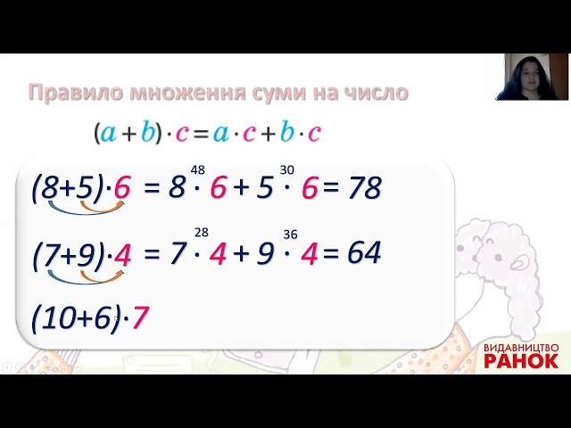 3 клас. Математика. Правило множення суми на число