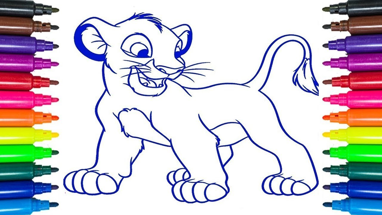 How to Draw Lion King Simba Coloring Pages for Kids ...