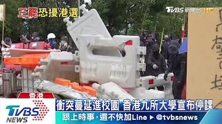 港警中大校內射催淚彈  示威者縱火阻路