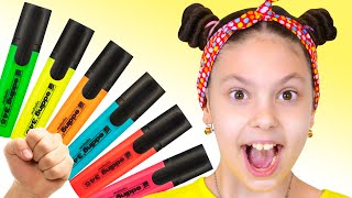 Pretends to play with his Magic Pen - Preschool toddler learn color + more