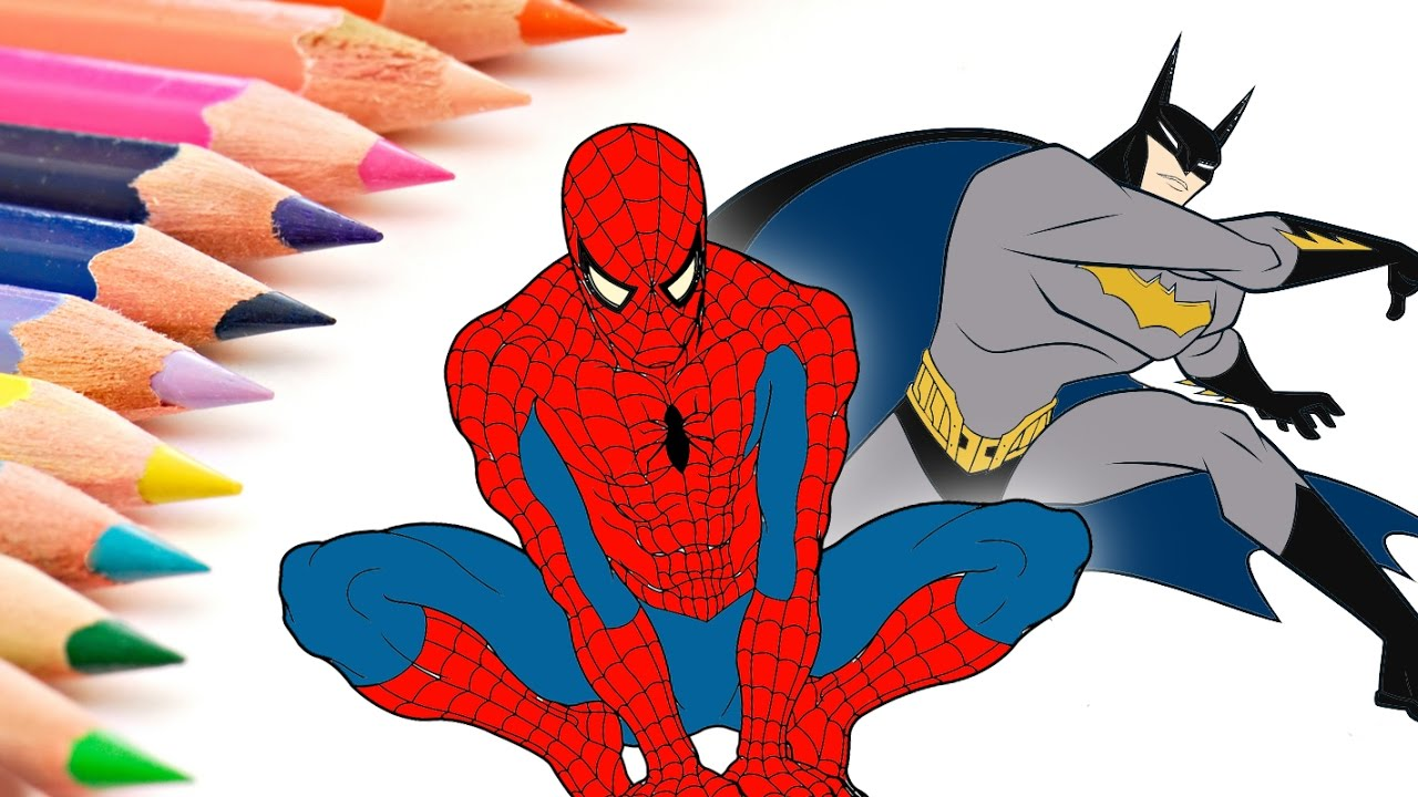 Batman & Spider-Man Coloring Pages for Kids - How to Color ...
