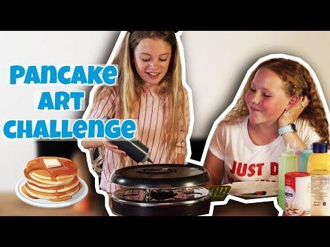PANCAKE ART CHALLENGE  MET LINETTE VLOGT !! - Broer en Zus TV VLOG #206