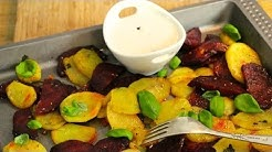 Röstkartoffeln mit roter Beete und Joghurt-Dip - Kochen mit LadyLandrand