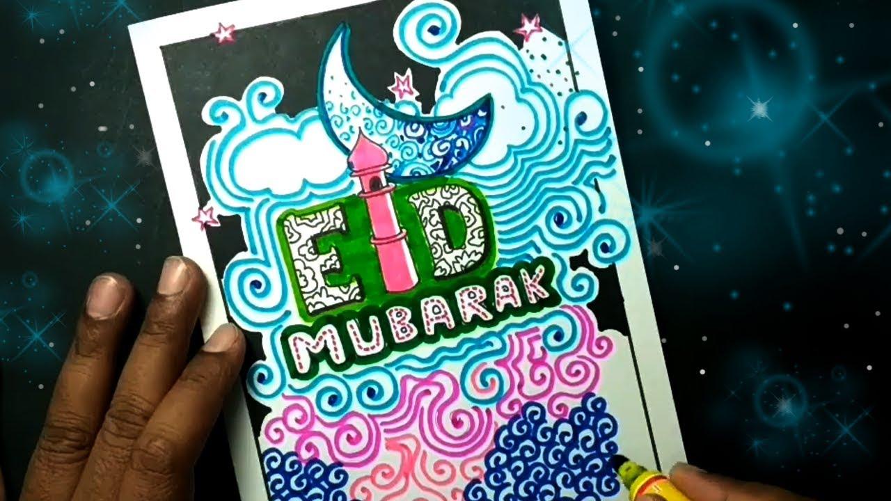happy eid drawing  handmade eid card  youtube